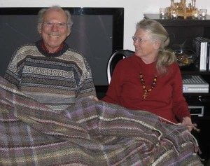 Will and Kate with their new handspun afghan