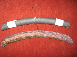 The hanger before and after the crocheted cover is added