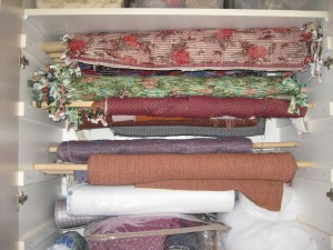Handwoven yardage rolled and waiting