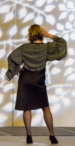 Marta Shannon from the Redwood Guild shows off her original design for a shrug