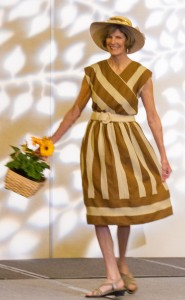 Cheryl Thompson, co-chair of the CNCH2014 Fashion Show, is a breath of spring in her handwoven cotton dress
