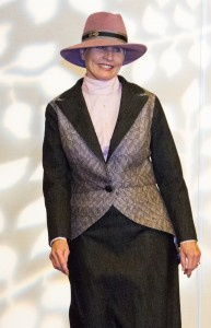Judy Fisher, co-chair of CNCH2014 Fashion Show, reimagines Sonoma County Formal with her handwoven and denim evening suit