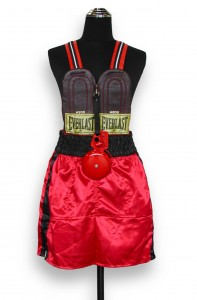 """""""Knockout"""" 2004Boxing shorts, leather boxing gloves,nylon webbing, leather rim, metal doorbell"""