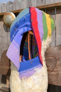 """Largest Pod 39"""" long, It offers a view of the willow armature, colorful felted knit and needle felted raw wool."""