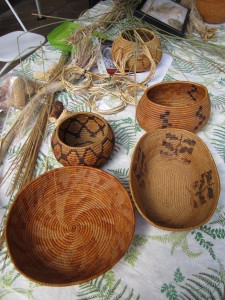 basket materials & baskets made by Mr. McKay and his family