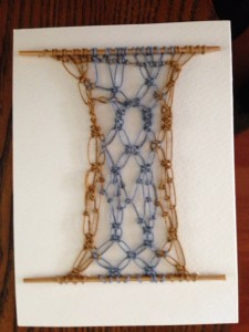 Card with macrame