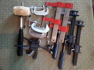 clamps and soft mallet