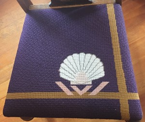 A set of six chair seat covers needlepointed by a favorite aunt- to match the bide's china