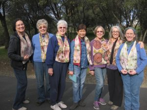 Tina Welch, Nancy Gaffney, Nancy Horne, Sofia Hudson, Peggy Morris, Christine Hall, andBetsy Wagner showing off CNCH 2016 volunteer scarves they'd just dyed.