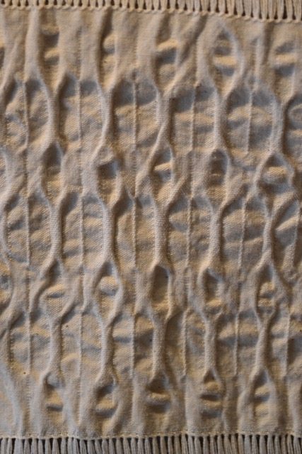 Texture patterned dimity fabric, in off-white