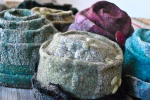 Felted hats. Photo by Patricia Briceno