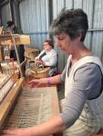 Sandy Fisher weaving and Jane Burke spinning flax at the Nut Festival
