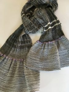 Collapse weave scarf with plain weave ruffle