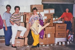 600 pounds of yarn ready for shipment. JoAnn Bronzan, second from left, was the driving force for this effort.