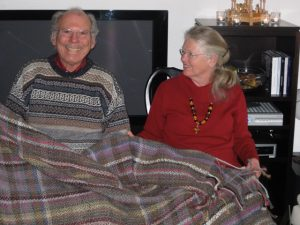 Will and Kate with their hand spun and hand woven blanket